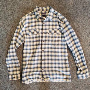 Patagonia Mens Medium Fjord Flannel - Oyster White